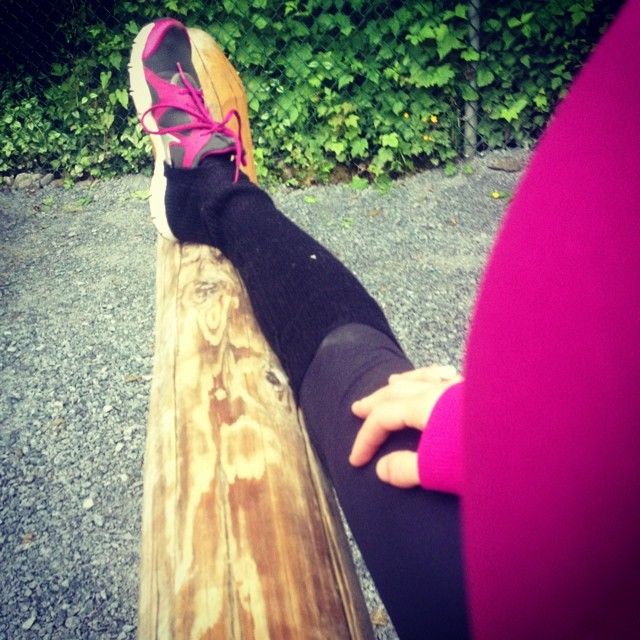 Stretching at the Grouse Grind