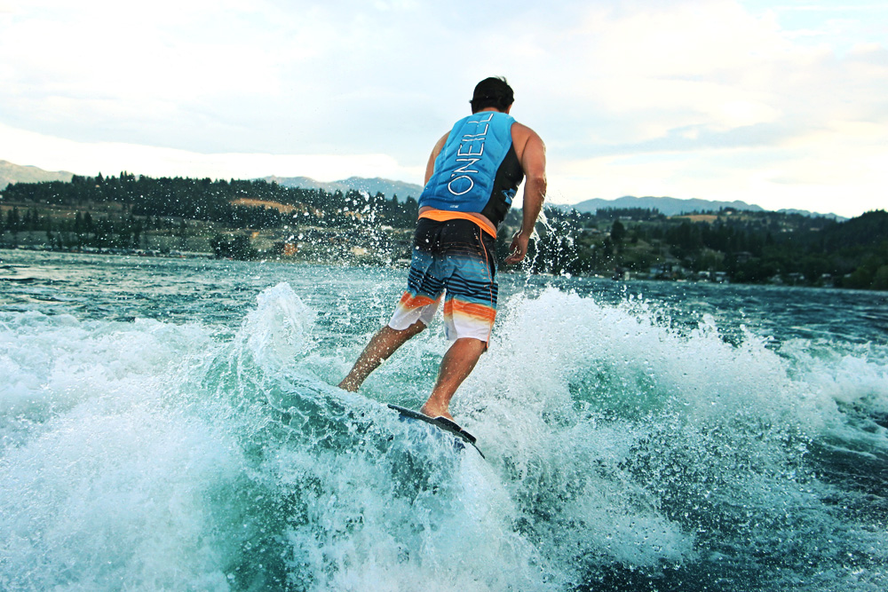 Bryce surfing on Lake Okanagan