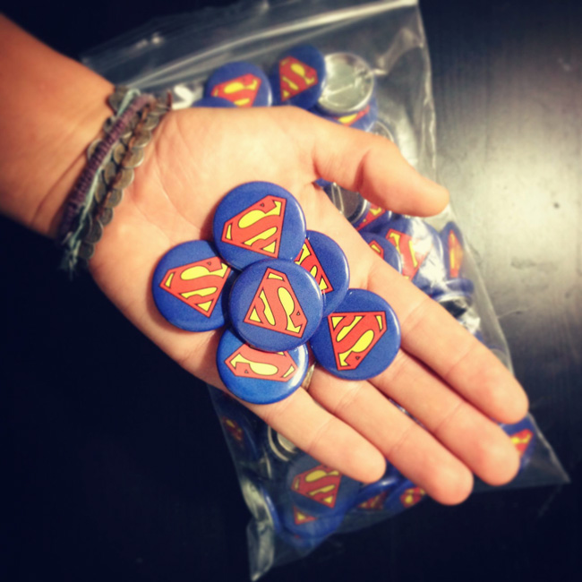 Gave out Superman buttons for the kids!! Everybody can be a superhero!