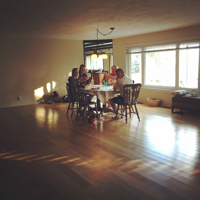Our first dinner in the still empty house with some of the most amazing people in my life